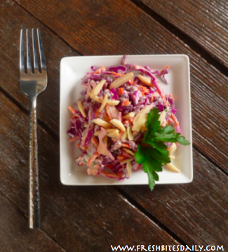 A bowlful of garlicky goodness with the crunch and flavor of red cabbage
