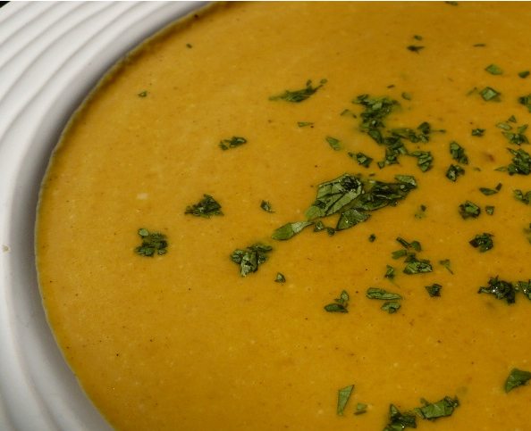 This soup is so pumpkin-y and coconut-y that it's almost sweet…
