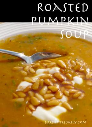Roasted Pumpkin Soup at FreshBitesDaily.com