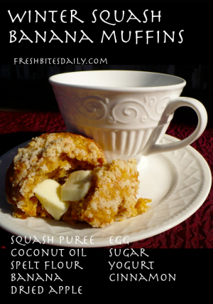 Winter Squash Banana Muffins at FreshBitesDaily.com