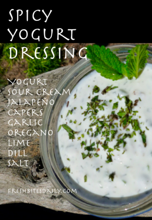 A spicy yogurt-based dressing great on salads, cooked vegetables, or in fish tacos...