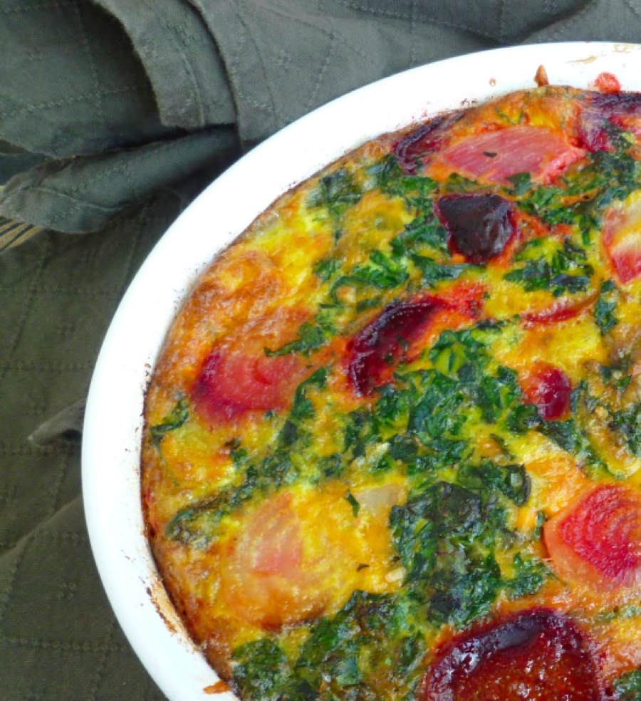 Crustless Beet Quiche with Beet Greens at FreshBitesDaily.com