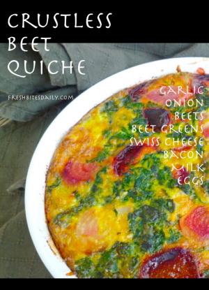 A crustless quiche with beets and greens, beautiful enough for company