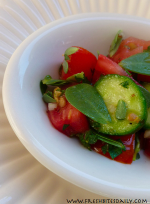 A weedy salad. You may find ingredients growing in the ...