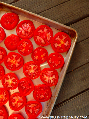 Freezing Tomatoes in Slices from FreshBitesDaily.com