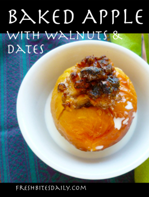 Baked Apple with Dates and Walnuts at FreshBitesDaily.com