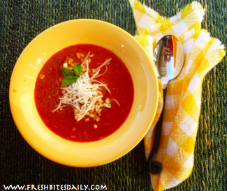 Roasted Red Pepper Soup from FreshBitesDaily.com