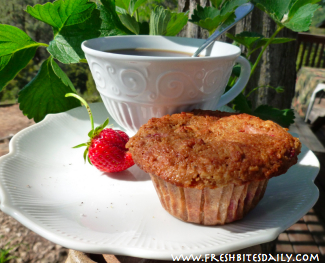 Strawberry Balsamic Muffins at FreshBitesDaily.com