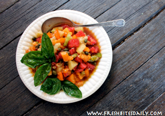 Chunky Heirloom Tomato Salad at FreshBitesDaily.com