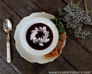 Chilled Elderberry Soup at FreshBitesDaily.com