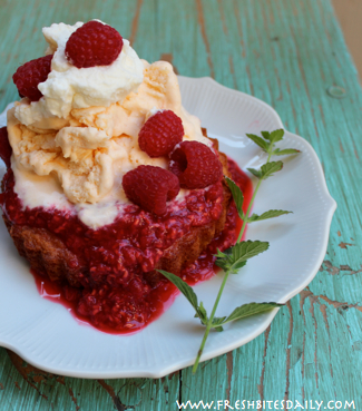 Raspberry Syrup over Shortcake at FreshBitesDaily.com
