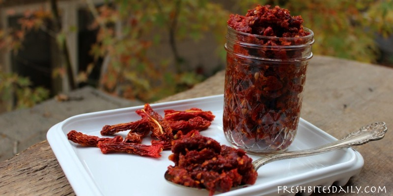 A simple and delicious way to store your dried tomatoes — in garlic oil!