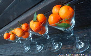 Clementines in Martini Glasses at FreshBitesDaily.com