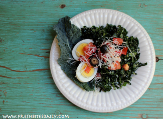 Kale Salad with Garden Tomatoes at FreshBitesDaily.com
