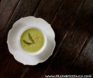 A cream of asparagus soup sophistocated enough for adults, child-approved