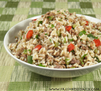 """A """"dirty rice"""" rendition to hide chicken liver from your children ;)"""