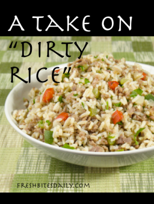 "A ""dirty rice"" rendition to hide chicken liver from your children ;)"