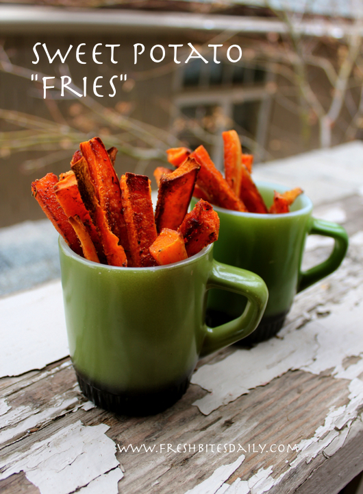 Roast your sweet potatoes up like French fries, French fries with beta carotene, clearly a health food...