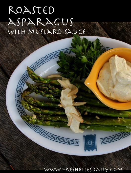 Roasted asparagus with creamy mustard sauce