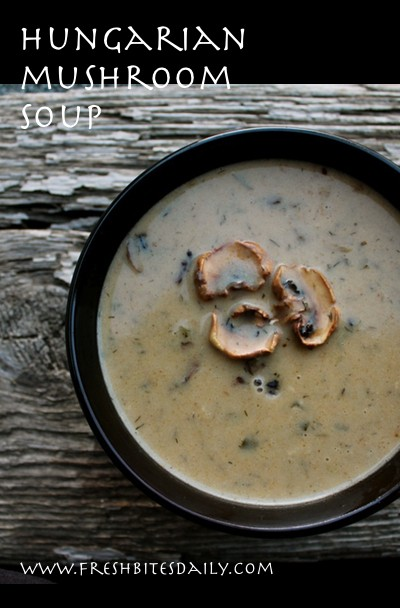 A memorable creamy mushroom soup seasoned with Hungarian paprika