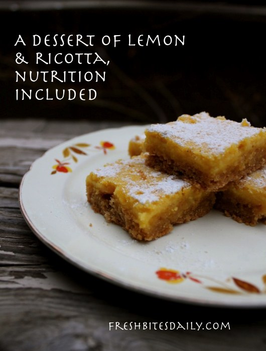 A dessert of lemon and ricotta, nutrition included