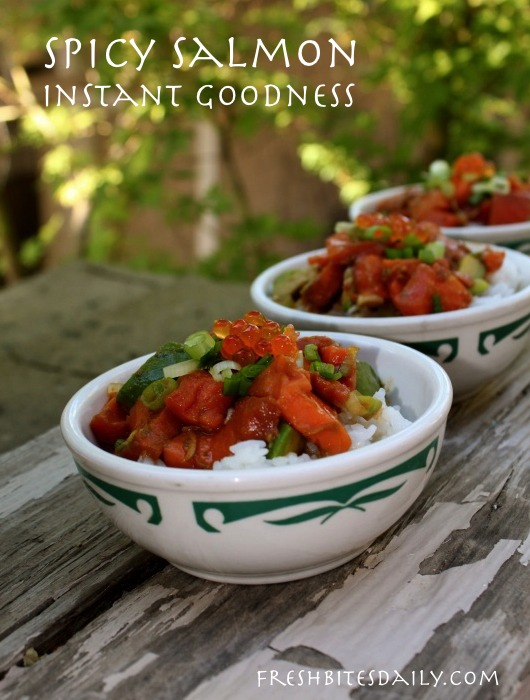 Poke-style spicy salmon, instant goodness