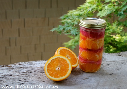 Pickled orange and onion in a vinegar base, a great addition to salads!