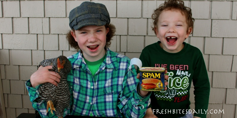 """Kids face Spam. Yes, Spam of """"Canned Pork Butt"""" fame."""